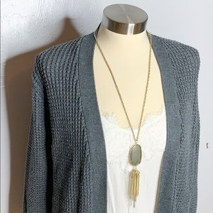 Abercrombie Fitch Gray Cardigan Sweater Open Knit